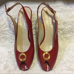 Salvatore Ferragamo Vintage red peep toe slingback